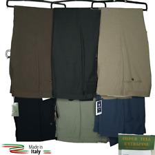Pantalone Uomo Classico In Fresco Lana Elegante Vita Alta Gamba Larga 46 48 50 5