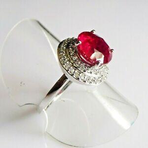 Handarbeit Klassischer Cocktail Rubin Saphir Silber 925 Ring 17,5 mm 55