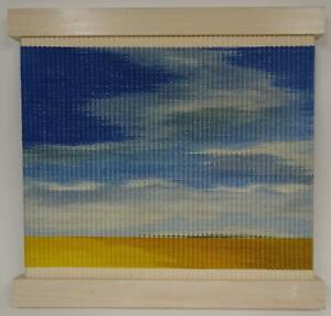Gunther Contemporary Fiber Designs Flat Land Woven Wall Art Blue White Yellow