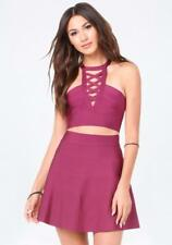 BEBE PLUM STRAPPY OPEN BACK BANDAGE CROPPED CROP TOP NEW NWT $69 MEDIUM M