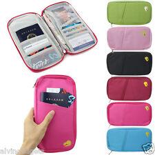 Passport ID Credit Card Holder Organizer Travel Wallet Purse Pouch Bag(L Blue)