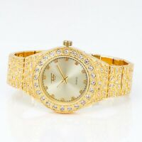 Men Ice Watch Bling Rapper Simulate Diamond Nugget Band Gold Hip Luxury Cubic