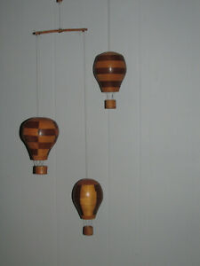 Beautiful Vintage Heavy WOODEN HOT AIR BALLOON MOBILE Decor Unique Handmade?