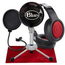 Blue Snowball USB Condenser Microphone (Gloss Black) with Headphones and Accesso