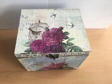 Shabby chic pretty floral small  lidded storage box 21 x 17 cm  clasp fitting