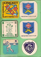 #D117.  SIX  CRICKET  RELATED BEER COASTERS