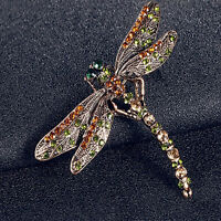 EG_ New Charming Jewelry Women's Vintage Noble Dragonfly Crystal Scarf Pin Brooc