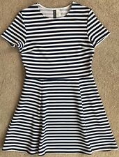 H&M NAVY WHITE STRIPE NAUTICAL FIT & FLARE DRESS NWT! 12 42