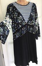 BNWT NEXT 14 cream blue black stripe floral frill fluted sleeve long tunic dress