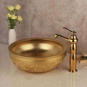 Round Golden Paint Art Basin Wash Ceramic Basin  With Mixer Faucet +Drain Set