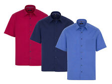 ETERNA Herren Kurzarm Business Hemd Comfort Fit Kent blau & rot 3072.K18E