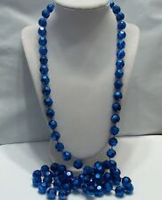 Vintage Electric Blue Faceted Plastic Bead Long Slip Over Necklace, 46""