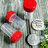12 Tiny Tubes Vial RED CAP Container USA Made jars TABLETS Powder 2205 DecoJars