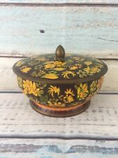 """Vintage Tin Made in England Round Yellow Gold Candy Biscuit Lid Container 7"""""""