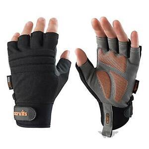 Scruffs Fingerless Trade Shock Impact Safety Work Gloves- Large
