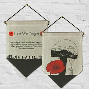 Remembrance Day Poppy Lest We Forget Armed Forces poppy Bunting Pennant & Ribbon