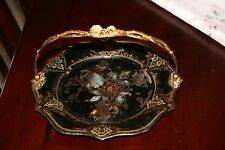 Antique English ca 1850 PAPER MACHE cake basket MOP & Ornate gilt brass handle