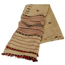 Sanskriti  Cream Woolen Shawl Woven Work Long Stole Soft Warm Scarf