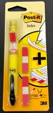 3M Post it Yellow Highlighter PEN with Flag Dispenser + 150 INDEX FLAGS