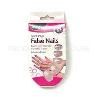 24pk Soft Pink False Nails Full Cover Fake Nails Tips Glue Adhesive Stick On