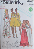 VTG 70s Butterick 6205 Womens 14 B36 Dress Gown Nightgown Robe Boho Pattern UNCT