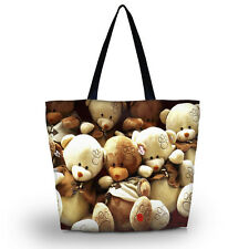 Cute Bears Women Shopping Tote Floding Zip Shoulder Handbag Travel Bag Satchel