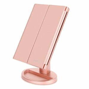 Tri-Fold Vanity Mirror with 21 LED Lights, Touch Screen and 3X Magnification