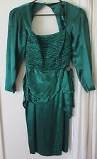 BB Collections Vintage Dress Prom 1980 Emerald Green Rhinestone Crinkle USA