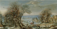 """oil painting""""A View of the Abbey of Groenendael Near Brussels in Winter""""@N9163"""