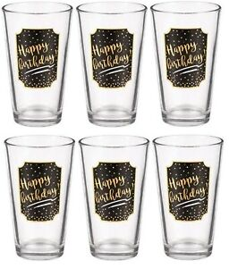 "Grassland Road ""Happy Birthday"" Pint Glass (6 PACK) 5 3/4"" x 3 1/2"" Holds 16 oz."