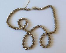 """Beads Approx. 9x7mm, Strand 31"""" Long African Silver Metal Bicone Bead Necklace,"""