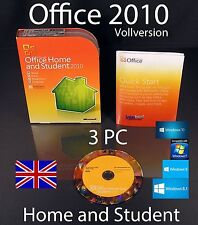 Microsoft Office Home and Student 2010 inglese versione FULL 3 PC BOX + DVD OVP
