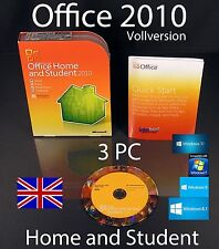 Microsoft Office Home and Student 2010 Englisch Vollversion 3 PC Box + DVD OVP