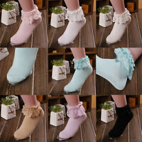 Princess Girl Cute Sweet Women Ladies Vintage Lace Ruffle Frilly Ankle Socks CN