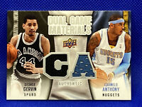 🔥2009-10 Upper Deck Duel Game Materials George Gervin Carmelo Anthony HTF👀