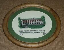 Vintage Needlework BEDFORD SPRINGS HOTEL Pennsylvania - Wood Frame Glass VGC