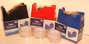 DESKTOP HEAVY DUTY WEIGHT SELLOTAPE CELLOTAPE TAPE DISPENSER HOLDER 6 FREE ROLLS