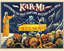 Vintage Antique Rare POSTER 1920's Kar-Mi India Magic Show Magician Circus Freak
