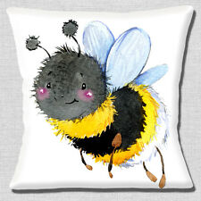 Smiling Bumble Bee Cushion Cover 16x16 inch 40cm Artisitic Modern Design White