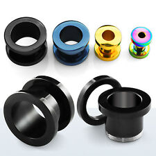 Flesh Tunnel Titan Tube Plug Piercing Schwarz / Silber 1,2-18 mm Schraubtunnel