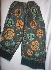 ancien foulard femme soie Jacques Griffe fleurs vintage vert