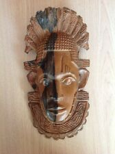 Indian Art Wood Sculpture Carving Chief Head Hand Carved Hardwood 13 Inches By 7