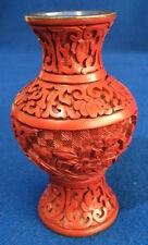 Vintage petit Chinese vase carved cinnabar lacquer Twentieth Century (c.1940)