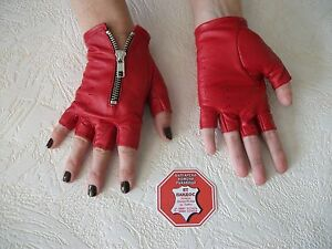 RED  LEATHER FINGERLESS  GLOVES SIZE 6, 6.5, 7, 7.5, 8, 8.5