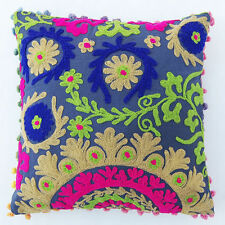 Vintage Suzani Cushion Cover Embroidered 16x16'' Indian Pillow Case Pom Pom LPUN