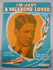 Im Just A Vagabond Lover Sheet Music Vintage 1929 Rudy Vallee Leon Zimmerman (O)