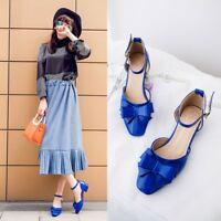 Womens Block Low Heels Round Toe Knot Pumps Solid Chunky Patent Leather Shoes