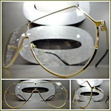 New VINTAGE RETRO SHIELD Style SUN GLASSES Gold Frame Clear Lens Iridescent Tint