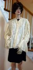 Vintage VICTORIAN Ecru Crocheted Jacket with Full Lace Sleeves