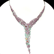 Gracefully Fancy Sapphire Emerald Garnet Tourmaline 925 Sterling Silver Necklace